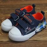 รองเท้าผ้าใบเด็กชายสียีนส์ เทปกาว ลายรถยนต์สุดเท่ห์