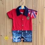 ชุดจั๊มสูทเด็กอ่อนเปิดเป้า หล่อๆ สีแดงลายธงอังกฤษกับยีนส์