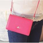 [ พร้อมส่ง ] - กระเป๋าสตางค์แฟชั่น สไตล์เกาหลี สีชมพูโดดเด่น ใบยาว แต่งนกน้อย งานสวยน่ารัก น่าใช้มากๆค่ะ