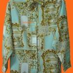 แถมให้คุณดุษณีค่ะ T26:Vintage top เสื้อเชิ้ตวินเทจลายสีฟ้าทอง&#x2764