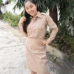 ( มาตราฐาน Muangdek ) ชุดกากี ชุดข้าราชการสีกากี คอเชิ้ต แขนยาว สำหรับข้าราชการหญิง
