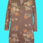 ขายแล้วค่ะ D30:Vintage dress เดรสวินเทจผ้ายืดสีน้ำตาล ลายดอกกุหลาบสีส้ม&#x2764
