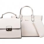 [ พร้อมส่ง Hi-End ] - กระเป๋าแฟชั่น Set 3 ชิ้น สีขาวครีมเรียบหรู ดีไซน์แบรนด์ดัง งานหนังคุณภาพ แบบมันเงาสวยหรู คุ้มค่าสุดๆ