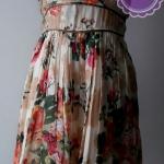 D58:2nd hand dress เดรส ลายดอกไม้ ผูกโบว์ด้านหลัง