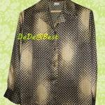ขายแล้วค่ะ T50:Vintage top เสื้อวินเทจสีทองและสีน้ำตาลแนวย้อนยุค&#x2764