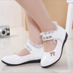 รองเท้าคัชชูเด็กหญิง หนังแก้วสีขาว สายเพชร สวยหรู Size 21-37