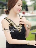 Sexy&Cool Black Long Dress V Gold Item Furnish by Seoul Secret