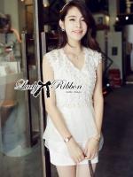 Lady Amelia White Classic Lace Peplum Dress