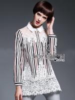 Lady Ribbon's Made Lady Amy Modern Feminine Striped Printed and Lace Long Shirt