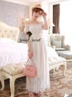 (1)Seoul Secret Say's... Princess Marble Softly Lace Maxi Dress