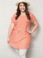 เสื้อผ้าสาวอวบแขนล้ำผ้าคอตตอนลายทางสีส้มสลับสีขาว + เชือกผูกเอว