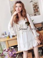 (2)Seoul Secret Say's... Goldy Linchpin Ivory Blouse
