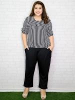 Set 2 ชิ้น เสื้อแขนสั้นพิมพ์ลายทางขาวดำ + กางเกงขาห้าส่วนสีดำ
