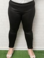 กางเกงขายาวไซส์ใหญ่หนังเทียมสีดำแต่งซิปช่วงปลายขา