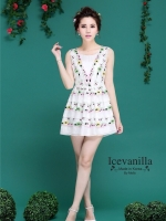 Luxury lively 3D floral embroidery Dress