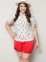 SET 2 ชิ้น เสื้อผ้าไซส์ใหญ่แขนสั้นผ้าชีฟองสีขาวพิมพ์ลายการ์ตูนน่ารักๆ + กางเกงขาสั้นสีแดงจับจีบด้านหน้า