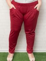 กางเกงไซส์ใหญ่ขายาวผ้าโพลีเอสเตอร์สีแดงมีกระเป๋าสองข้างติดยางยืดช่วงเอว
