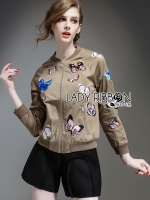Lady Ribbon's Made Lady Sally Sporty Butterfly Embroidered Nylon Bomber Jacket