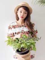 Set Able Mix&Match Lace Flower Print Top with Skirt by Seoul Secret