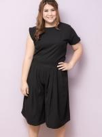 SET 2 ชิ้น เสื้อผ้าไซส์ใหญ่ผ้าคอตตอนเนื้อผสมสีดำ + กางเกงขาสี่ส่วนสีดำ