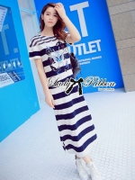 Lady Ribbon's Made Lady Clair Navy Screen and Embellished Striped Maxi Dress