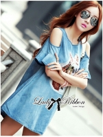 Lady Ribbon's Made Lady Alexa Sequin Horse Cut-out Denim Dress