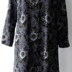 D40:Vintage dress เดรสวินเทจสีเทาลายดอกไม้