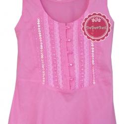 ขายแล้วค่ะT93:2nd hand top เสื้อแขนกุดสีชมพูหวาน โดดเด่นด้วยการปักลูกปัด เลื่อม และลูกไม้ ที่หน้าอก&#x2764