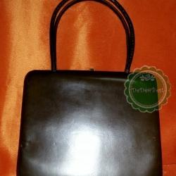 B39:Vintage leather bag กระเป๋าถืิอหนังแท้สีน้ำตาลทรงสี่เหลี่ยม !ส่งฟรีคร่าา..