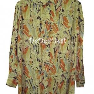 ขายแล้วค่ะ T34:Vintage top เสื้อเชิ้ตวินเทจผ้าไหม พิมพ์ลายข้าวโพดและทอลายดอกกุหลาบสวย&#x2764