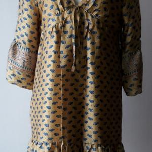 D45:Vintage dress เดรสวินเทจผ้า Silk ลายผลไม้