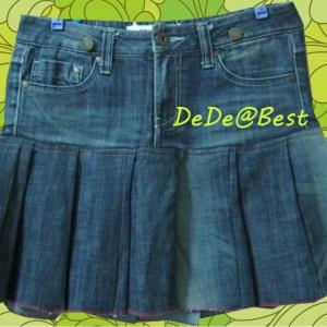 ขายแล้วค่ะ S3:2nd hand skirt กระโปรงยีนส์สีน้ำเงินเข้ม มีพลีทใหญ่ๆ รอบตัว&#x2764