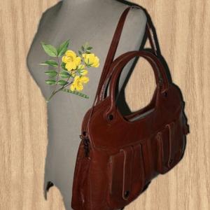 ขายแล้วค่ะB38:Vintage leather bag กระเป๋าหนังแท้สะพาย/ถือ&#x2764
