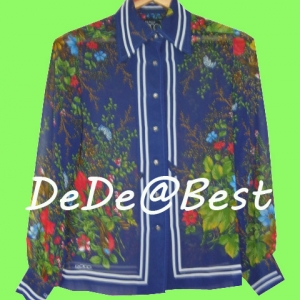 ขายแล้วค่ะ T48:Vintage top เสื้อวินเทจผ้าซีฟองสีน้ำเงินลายดอกไม้&#x2764