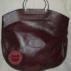 B36:Vintage leather bag กระเป๋าถือหนังแท้สีน้ำตาลเข้ม