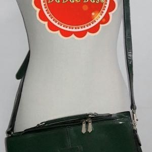 B44:Vintage leather bag กระเป๋าหนังแท้สีเขียวทรงสี่เหลี่ยม/ใส่เอกสาร/สะพาย/ถือ/ถอดสายได้
