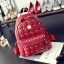 [ ลดราคา ] - กระเป๋าเป้แฟชั่น สไตล์เกาหลี สีแดงเข้ม ปักหมุดเท่ๆ ดีไซน์แบรนด์ดัง ทรงสวยเก๋ไม่ซ้ำใคร งานหนังคุณภาพอย่างดีค่ะ thumbnail 1