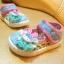 รองเท้าคัชชูผ้าเด็กเล็ก สีฟ้าชมพูหวาน Kitty (เท้ายาว 11-14 ซม.) thumbnail 1