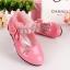 รองเท้าคัชชูเด็กหญิง หนังแก้วสีชมพู สายเพชร สวยหรู Size 26-30 thumbnail 2