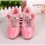 รองเท้าคัชชูเด็กหญิง หนังแก้วสีชมพู สายเพชร สวยหรู Size 26-30 thumbnail 9