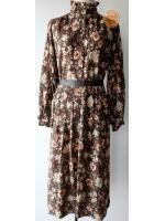 D25:Vintage dress เดรสวินเทจแขนยาว คอตั้งระบายแนววิคทอเรียน ลายดอกไม้สวย