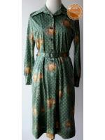 D66:Vintage dress เดรสวินเทจสีเขียวลายดอกไม้และกราฟฟิค มีเข็มขัดเข้าชุด