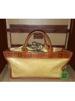 B52:Vintage leather bag กระเป๋าถือหนังแท้สีครีมตัดขอบด้วยหนังแท้สีน้ำตาล