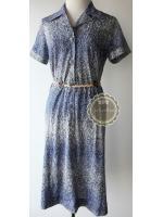 D36:Vintage dress เดรสวินเทจโทนสีน้ำเงิน เล่นลายคล้ายระบายด้วยสี
