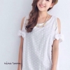 Korea Daisy Cut Out Shoulder Cotton Dress มี 2 สี