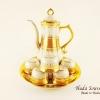 ของขวัญปีใหม่ให้ผู้ใหญ่ ชุดน้ำชาเบญจรงค์ ขนาดกลาง ทรงกากนก สีเบญจรงค์ทองสร้อยลายโบตั๋น ลายเนื้อนูนเคลือบเงา