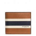กระเป๋าสตางค์ผู้ชาย COACH COMPACT ID WALLET IN VARSITY CALF LEATHER F75086 : SADDLE