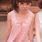 เสื้อแขนกุดลายจุด สีชมพู