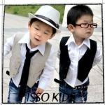 เสื้อผ้าเด็กเกาหลี ISSO KIDS เสื้อกั๊กสำหรับหนุ่มน้อย ใส่ออกงานได้สบายๆ สีกากี Size 11 / 13