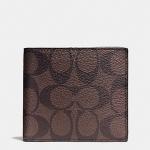 กระเป๋าสตางค์ผู้ชาย COACH DOUBLE BILLFOLD WALLET IN SIGNATURE F75083 : MAHOGANY